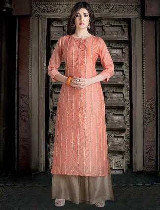 Peach color kurti in cotton
