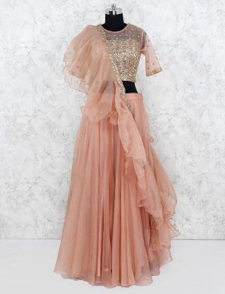 Peach color party wear tissue silk lehenga choli