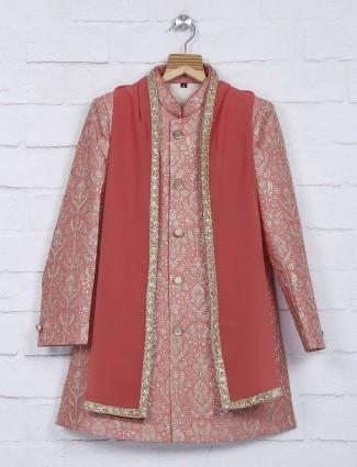 Peach color silk fabric wedding indo western