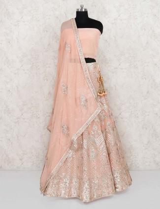 Peach color silk wedding semi stitched lehenga choli