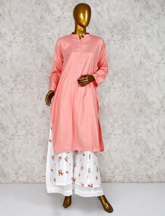 Peach colored cotton fabric punjabi palazzo suit