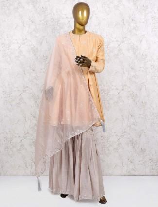 Peach colored cotton silk fabric sharara suit