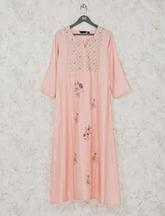 Peach cotton festive wear long kurti