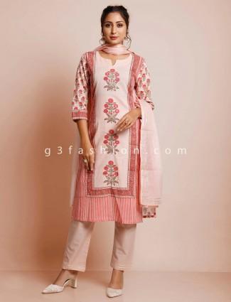 Peach cotton festive wear pant salwar kameez