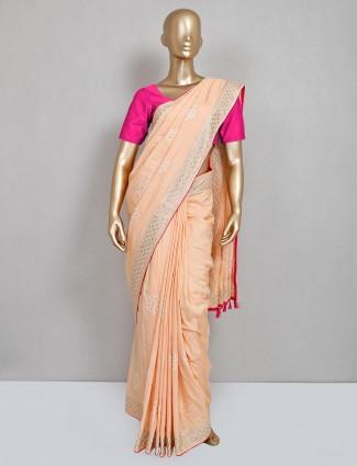 Peach cotton silk festival saree