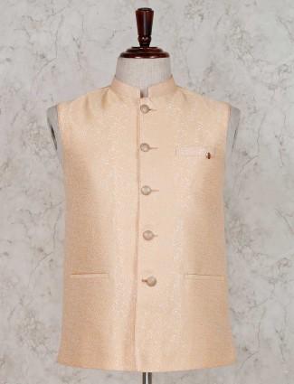 Peach designer terry rayon waistcoat