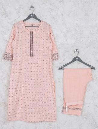 Peach hue casual wear cotton kurti set