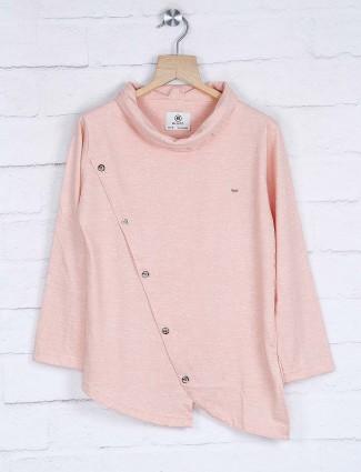 Peach hue cotton cut style kurta