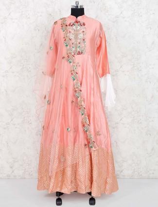 Peach hue cotton silk fabric anarkali salwar suit