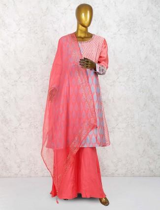 Peach hue festive cotton silk palazzo suit
