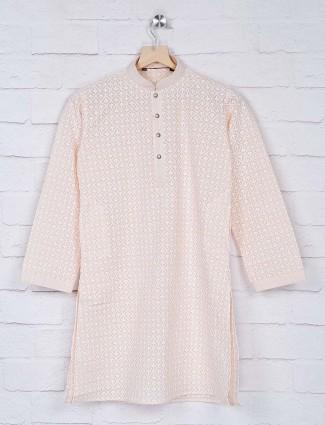 Peach hue lakhnavi thread kurta suit