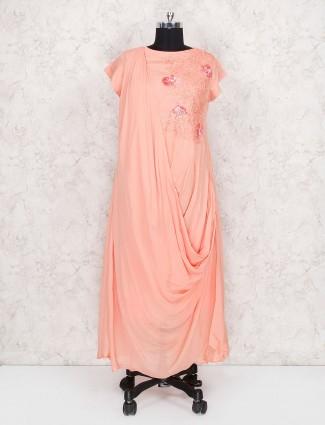 Peach hue long designer kurti