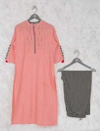 Pink hue pretty cotton kurti set