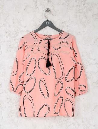 Peach hue round neck cotton top