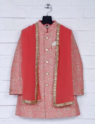 Peach hue silk fabric party wear indo western