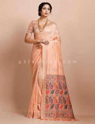 Peach pashmina silk wedding saree