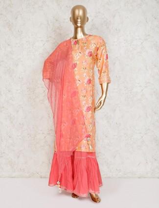 Peach printed cotton silk punjabi sharara suit