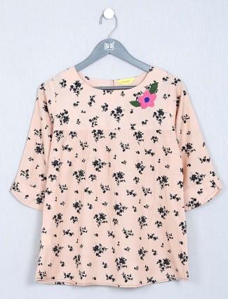 Peach printed womens cotton top
