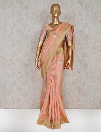 Peach reception semi silk saree