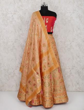 Peach semi stitched lehenga choli in silk