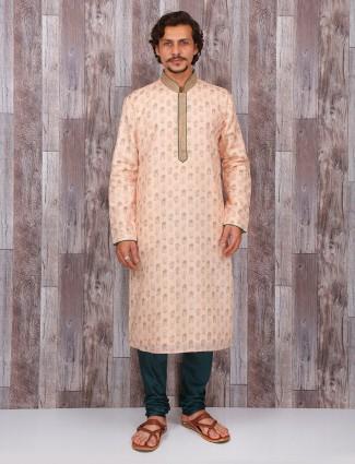 Peach silk festive kurta suit
