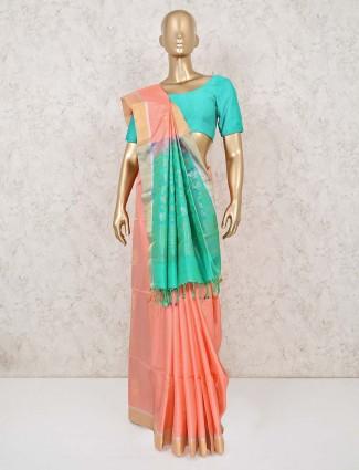 Peach south silk saree with green palla