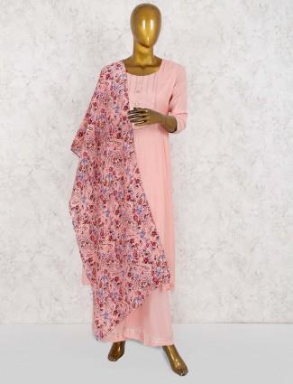 Pink color cotton punjabi salwar suit