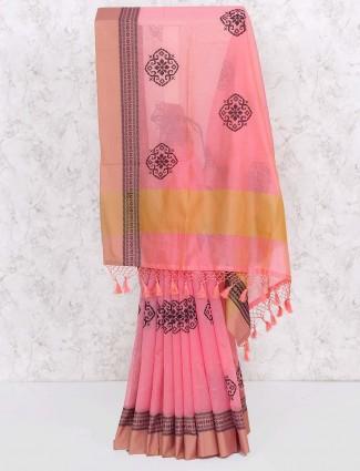 Pink color festival saree