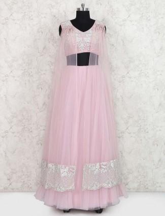 Pink color jacket style lehenga choli