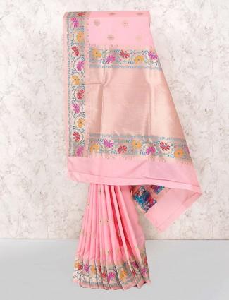 Pink color lovely semi silk fabric saree
