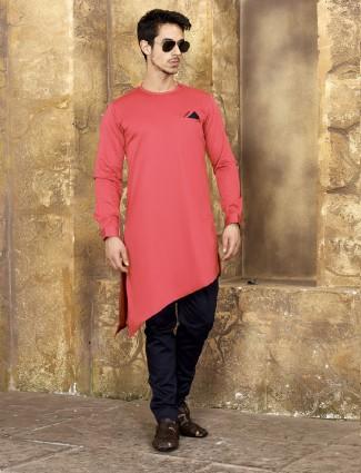 Pink color party wear kurta suit