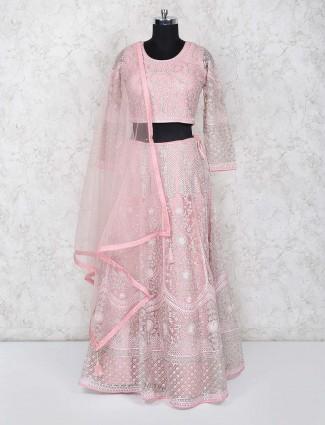 Pink color pretty net wedding lehenga choli