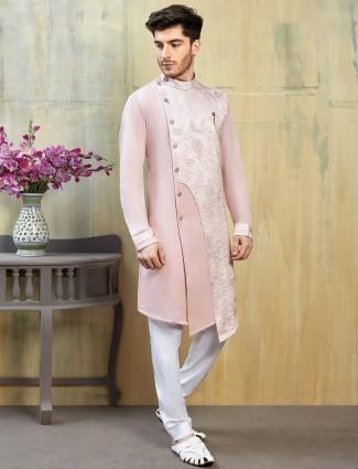 Pink color silk fabric bandhgala kurta suit