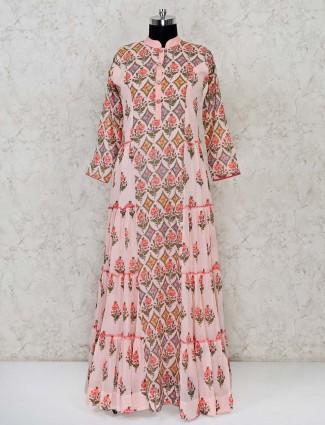 Pink colour floor length designer anarkali suit