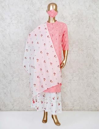 Pink cotton casual punjabi sharara suit