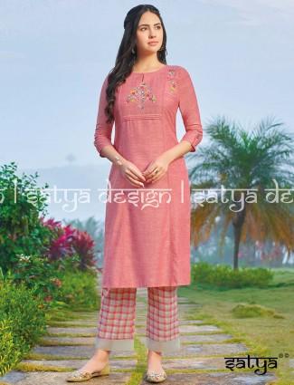 Pink cotton casual wear pant set