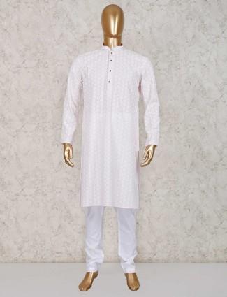 Pink cotton festive kurta suit