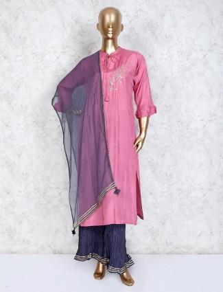 Pink cotton festive palazzo set