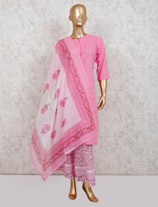 Pink cotton festive palazzo suit