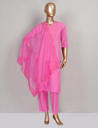 Pink cotton festive special salwar suit