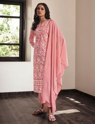 Pink cotton festive wear palazzo suit