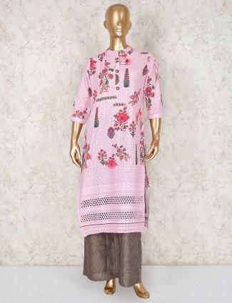 Pink cotton printed festive wear punjabi palazzo suit