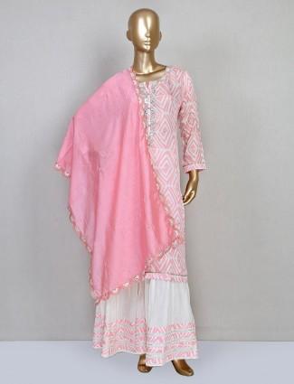 Pink cotton punjab sharara suit for festival