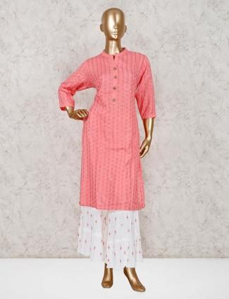 Pink cotton punjabi sharara set
