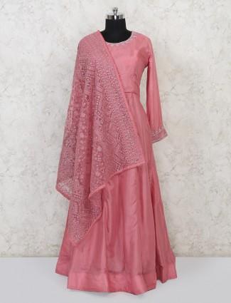 Pink cotton silk floor length anarkali suit for wedding days