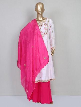 Pink cotton silk punjabi palazzo suit for wedding