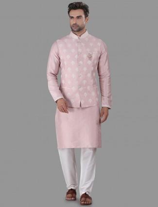 Pink cotton silk waistcoat set for festive