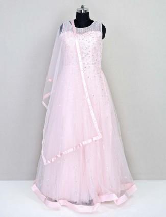 Pink designer net gown for wedding session