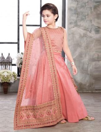 Pink designer raw silk lehenga choli