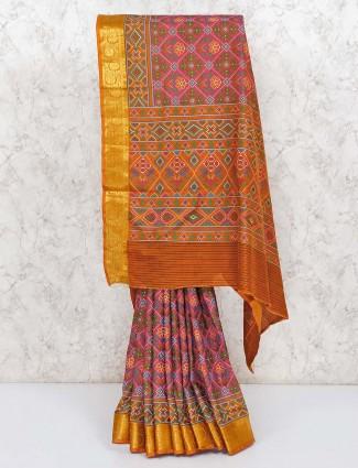 Pink festive cotton silk patola printed saree